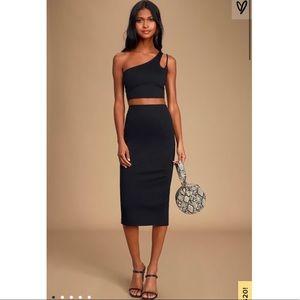 Vixen Black One-Shoulder Bodycon Two-Piece Dress
